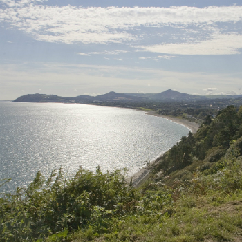 Scenic views from Killiney Hill overlooking the sea.