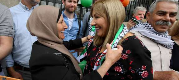 Senator Frances Black outside Leinster House with Muna al-Taneeb before Seanad vote on the Occupied Territories Bill