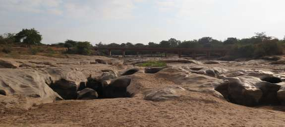 A dry river bed as a result of climate change in Kenya