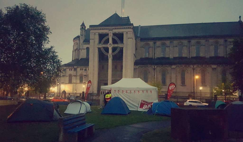 The Christian Aid campsite outside St Anne's Cathedral in Belfast