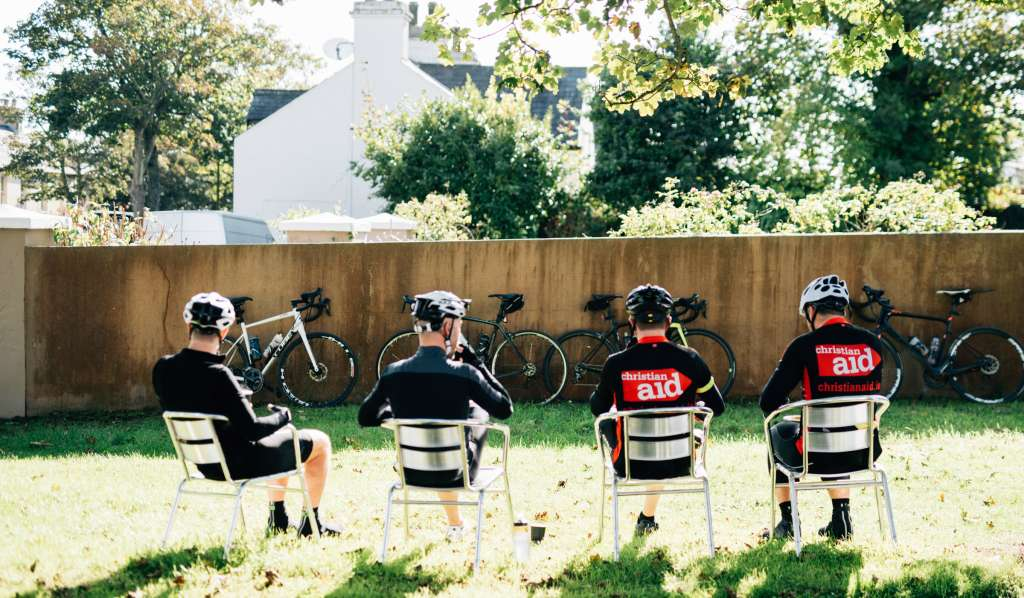 Cyclists taking a quick break at Christian Aid's Strangford Sportive