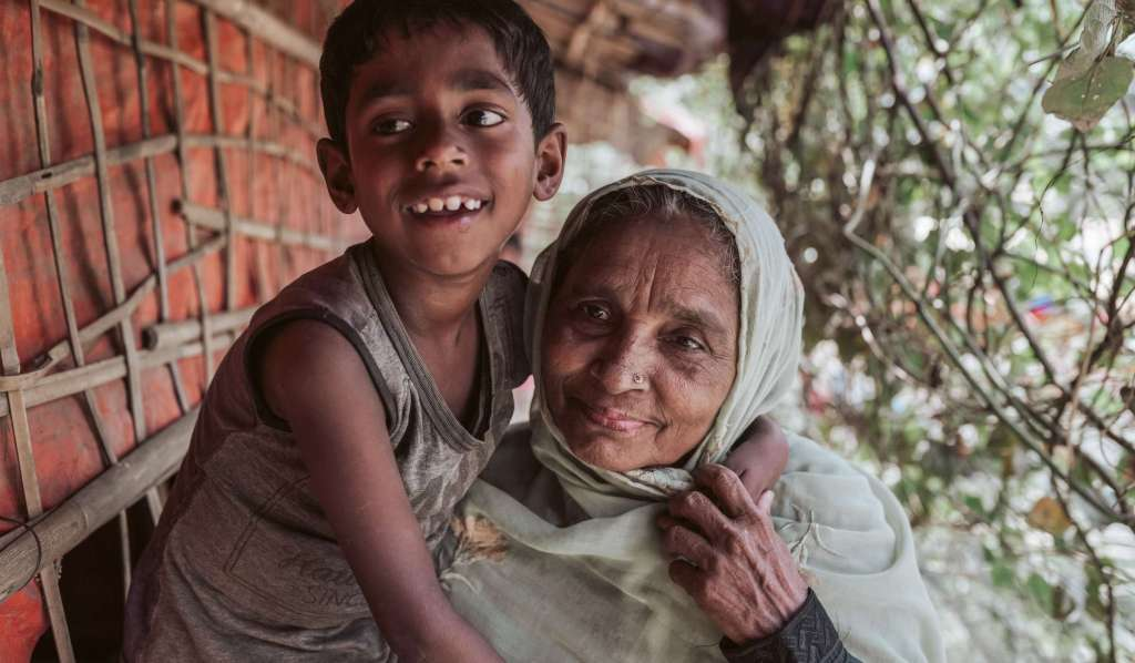 Grandmother and Grandson in Rohingya refugee Camp in Bangladesh
