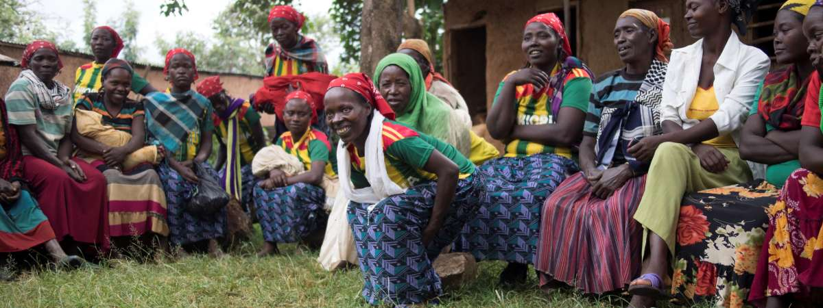 Women gather in Bene Tsemay, Ethiopia for a weekly support meeting