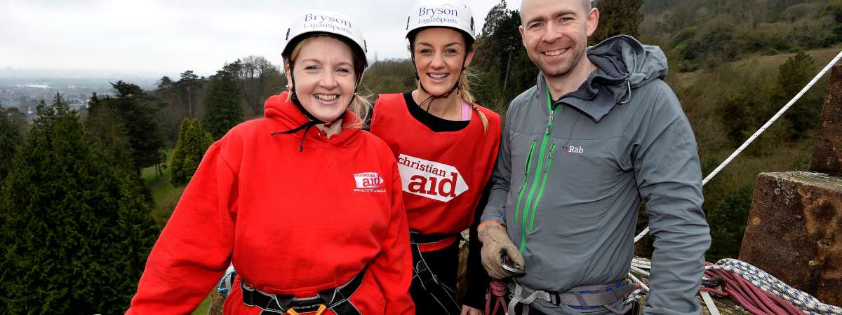 MMA world champion, Leah McCourt and Chief Executive of Christian Aid Ireland, Rosamond Bennett take a leap of faith for Christian Aid Ireland.