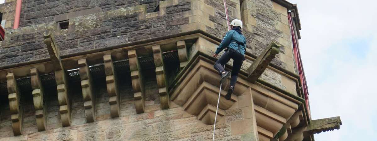 Lewis Doherty abseiling