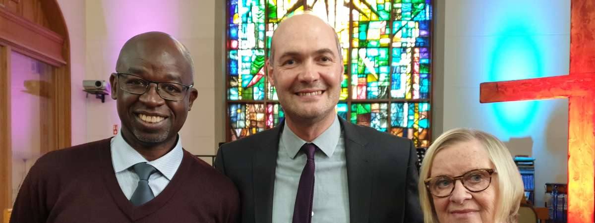 Rev Bob Kikuyu at Lowe Memorial Presbyterian church Belfast