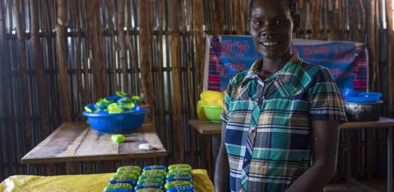Kumana Kurasho joins fellow small scale entrepeneurs producing aloe vera soap in the Duraite Kebele Karsale village, Konso