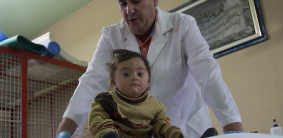 Two year old Zainab al-Zoori receives care from Christian Aid partner LPHU in Beqaa Valley, Lebanon