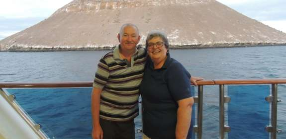 Margaret and Sandy Lindsay, Christian Aid legators, on their trip to the Galapagos Islands.