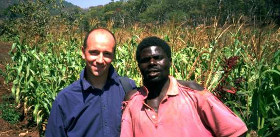 Tim Dunwoody with Mukangs, the Chair of the irrigation committee at a Christian Aid project in Malawi, 2003.
