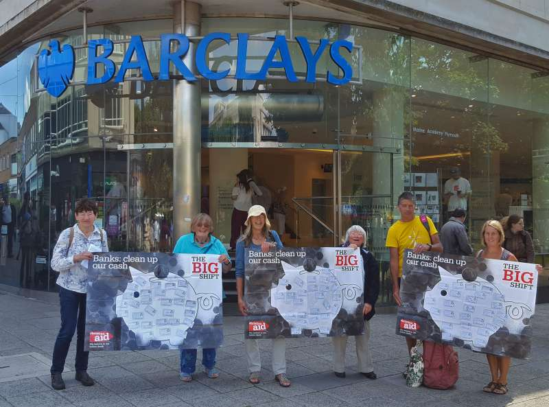Big Shift campaigners outside Barclay's bank