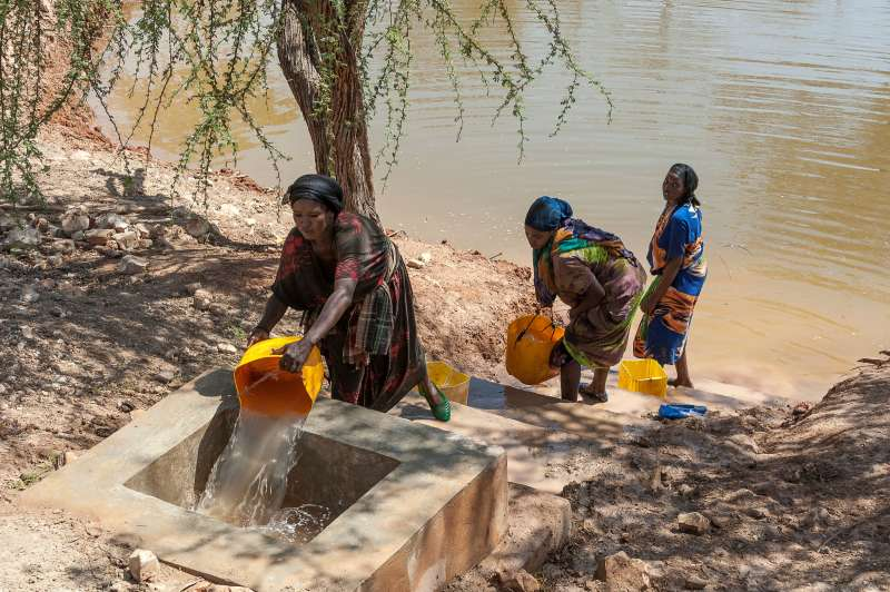 Women collecting water, Ethiopia