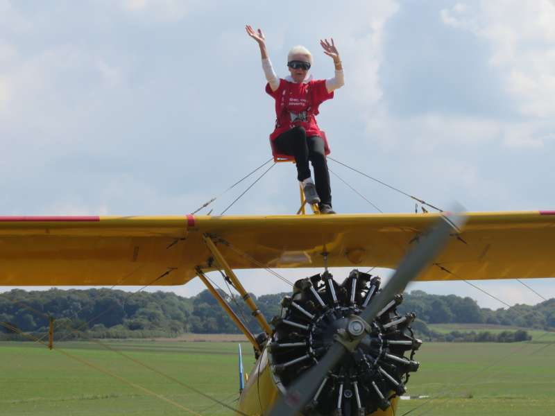Lesley Williams took part in a wingwalk in support of Christian Aid