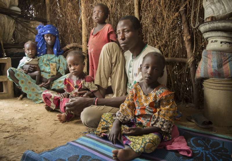 Ibrahim and his family in Nigeria