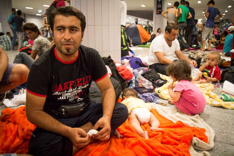 Syrian Refugees waiting at Keleti Railay station