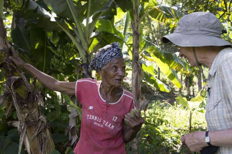 Etike Aubert from Haiti grows peanuts, bananas, plantains and beans on her land.