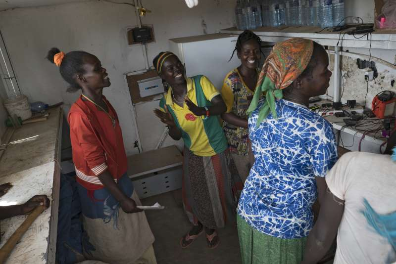 Addis women's Group meeting in their solar kiosk in Ethiopia
