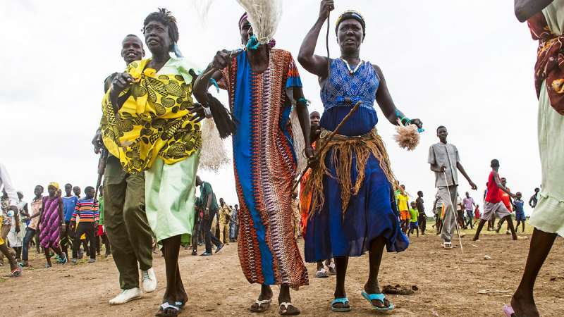 Women in South Sudan marching