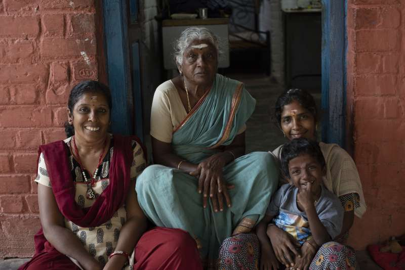 Senthamil Selvi, Selvi's mother, Kasthuri, and Mathi at the EcoVeg collective farm in Virudhunagar District, India