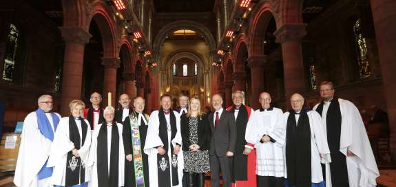 Church representatives gather in St Anne's Cathedral, County Cork for Christian Aid's 70th anniversary celebration