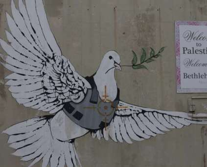 A painting of a dove by Banksy