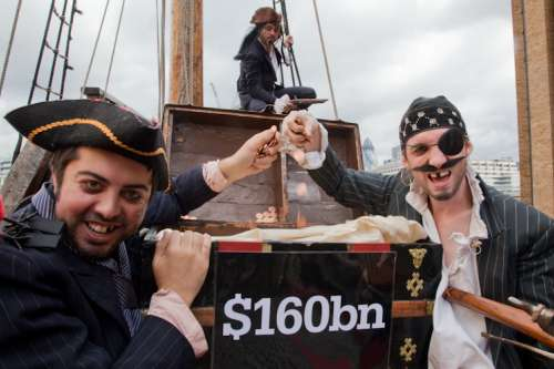 Christian Aid campaigners dress up as Pinstripe Pirates to highlight the problem of corporate tax dodging.