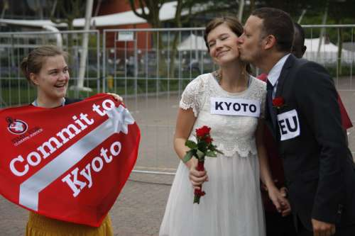 Campaigner in stunt to support the Kyoto Protocol –  drafted to ensure that national climate targets are legally binding.