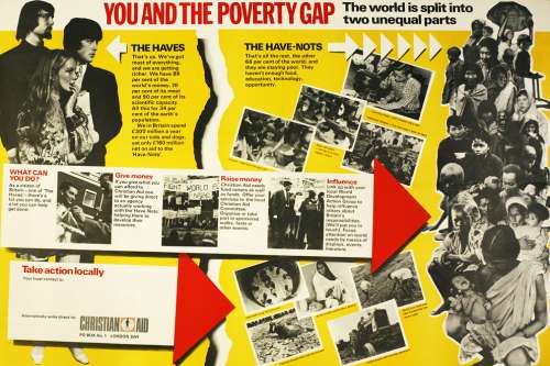 Poster showing wealthy westerners on the left and poor communities overseas on the right