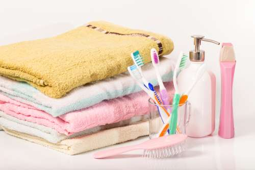 Towels, toothbrushes and hand soap