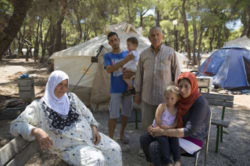 Syrian family in refugee camp