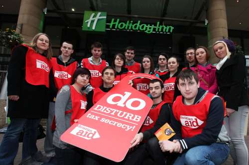 Campaigners outside the Holiday Inn in Belfast