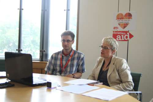 Margaret Ritchie takes part in a climate change lobby event for Christian Aid, via Skype