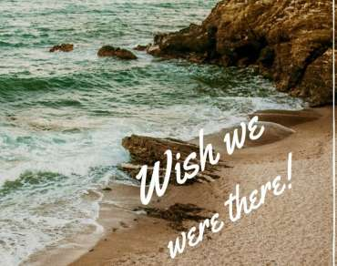 Postcard reading: 'Wish we were there!'