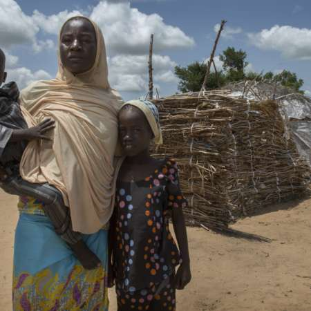 Falmata and her two children in northern Nigeria