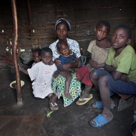 A rape survivor and her children in DRC.