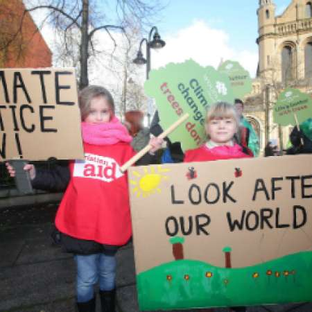 Grace Thomas taking part in Christian Aid's climate rally in Belfast
