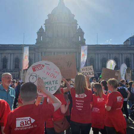 Christian Aid Ireland supporters take part in Belfast's Climate Strikes
